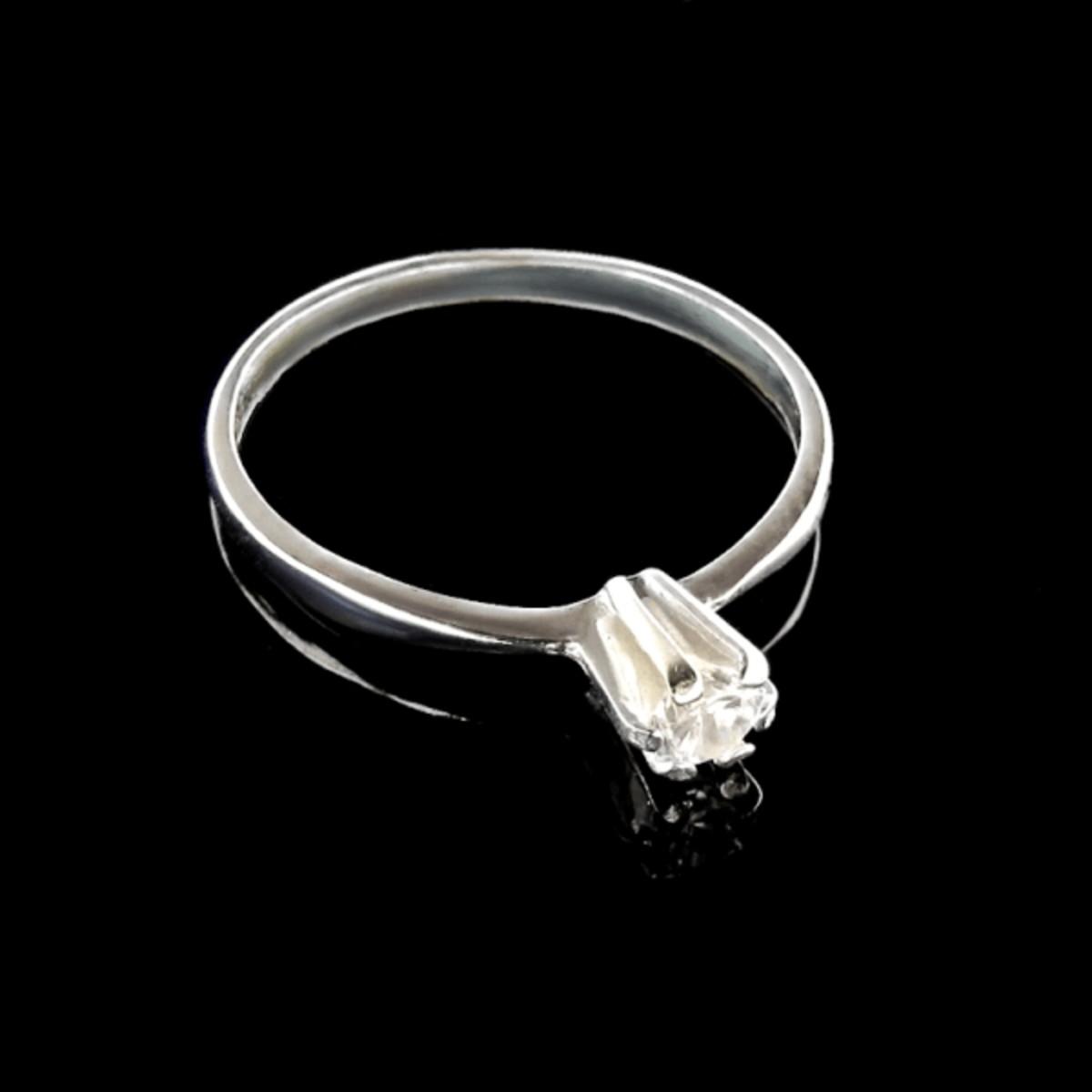 00bdf35f763f5 Anel Solitario de Ouro Branco 18k com Diamante no Elo7   LSR Joias ...
