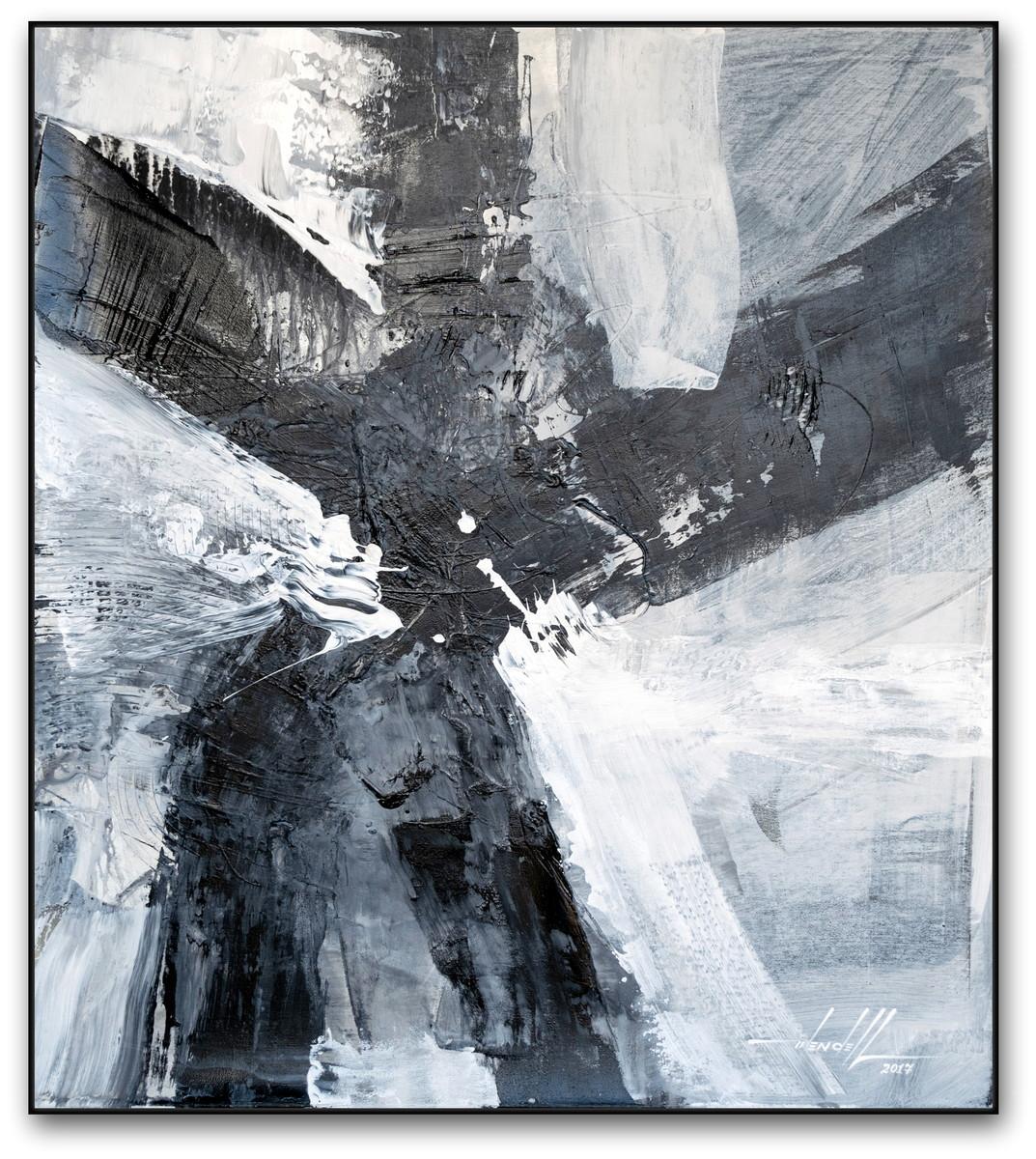 Pintura Abstrata Em Preto E Branco 90 Cm X 100 Cm Lunna 1