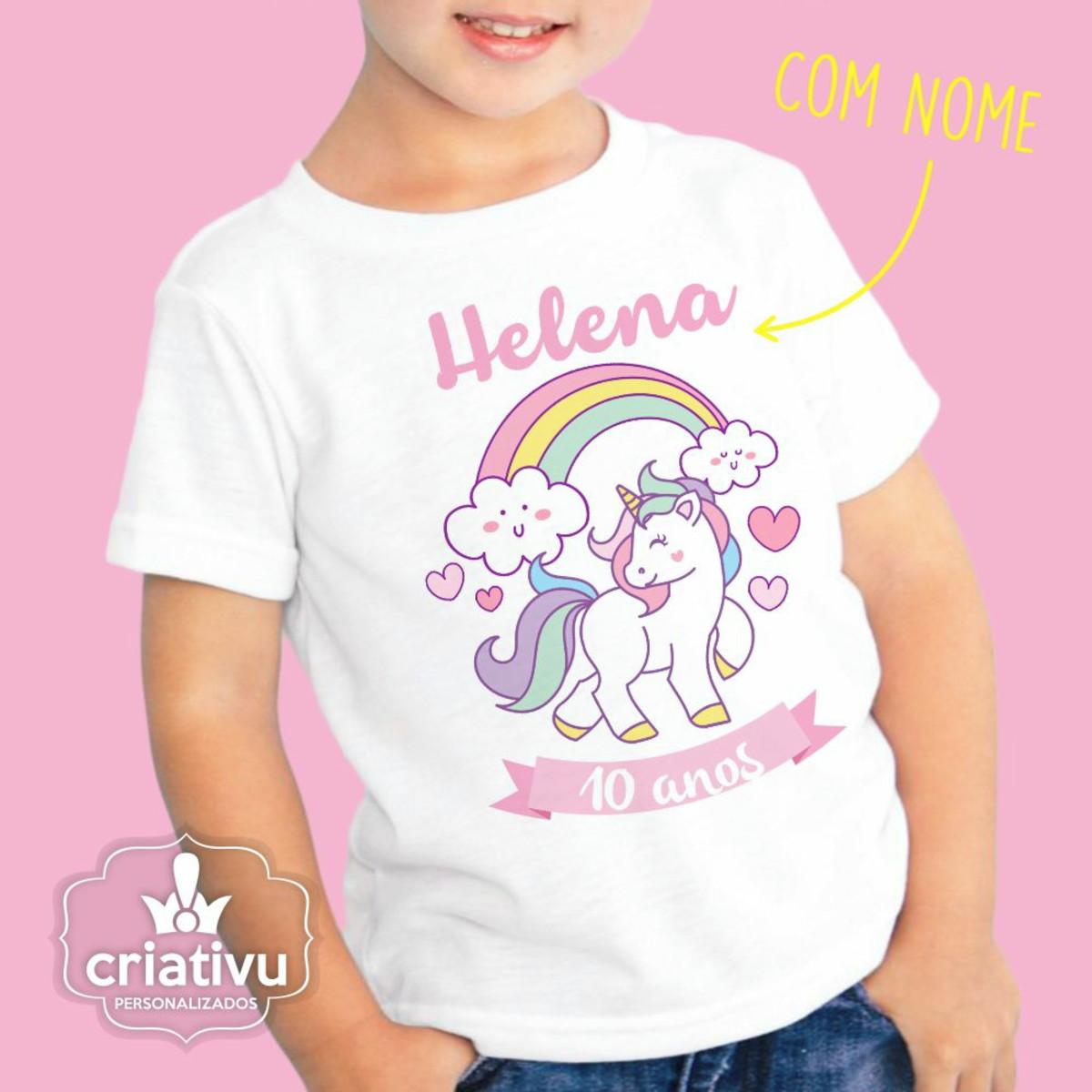 a360712ac Camiseta Personalizada Unicórnio Infant no Elo7