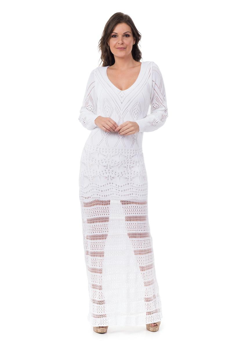 Vestido Longo Feminino Tricot Manga Longa Branco 05025
