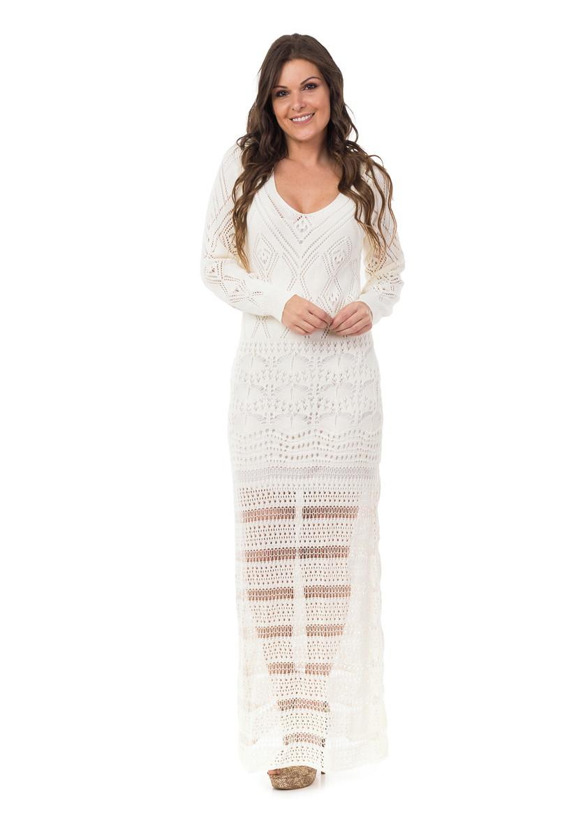 4a1e30435e Vestido Longo Feminino Tricot Manga Longa Off-White 05025 no Elo7 ...