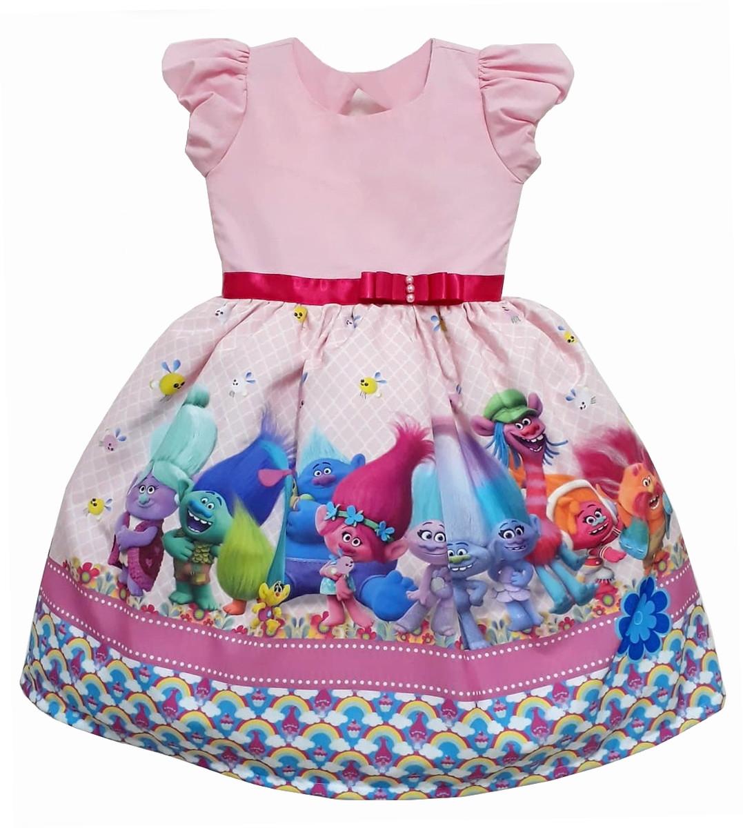 Vestido Desenho Trolls Festa Tematico Princesas No Elo7 Outlet