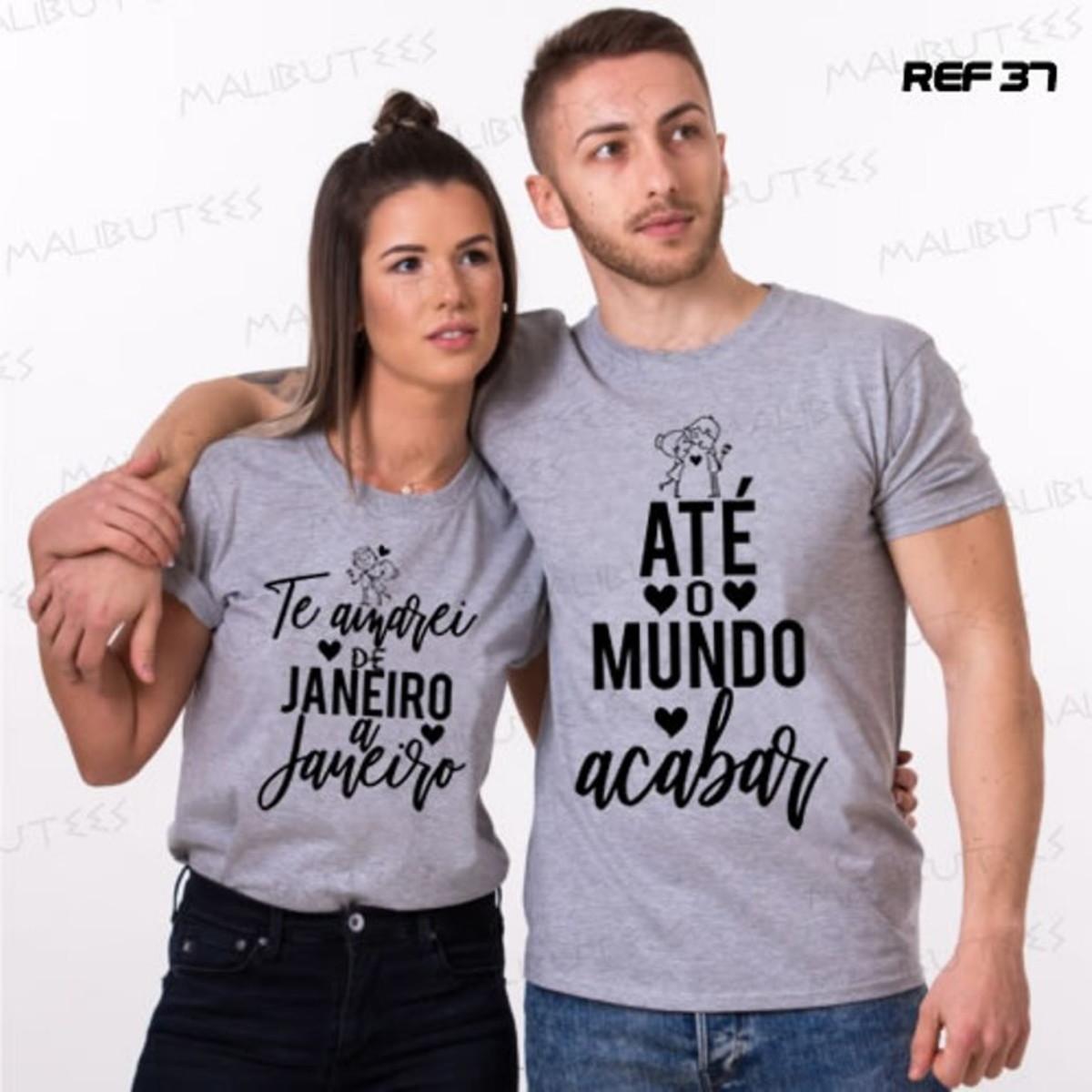 Kit 2 Camisetas Cinza Mescla Namorados Casal Love Amor