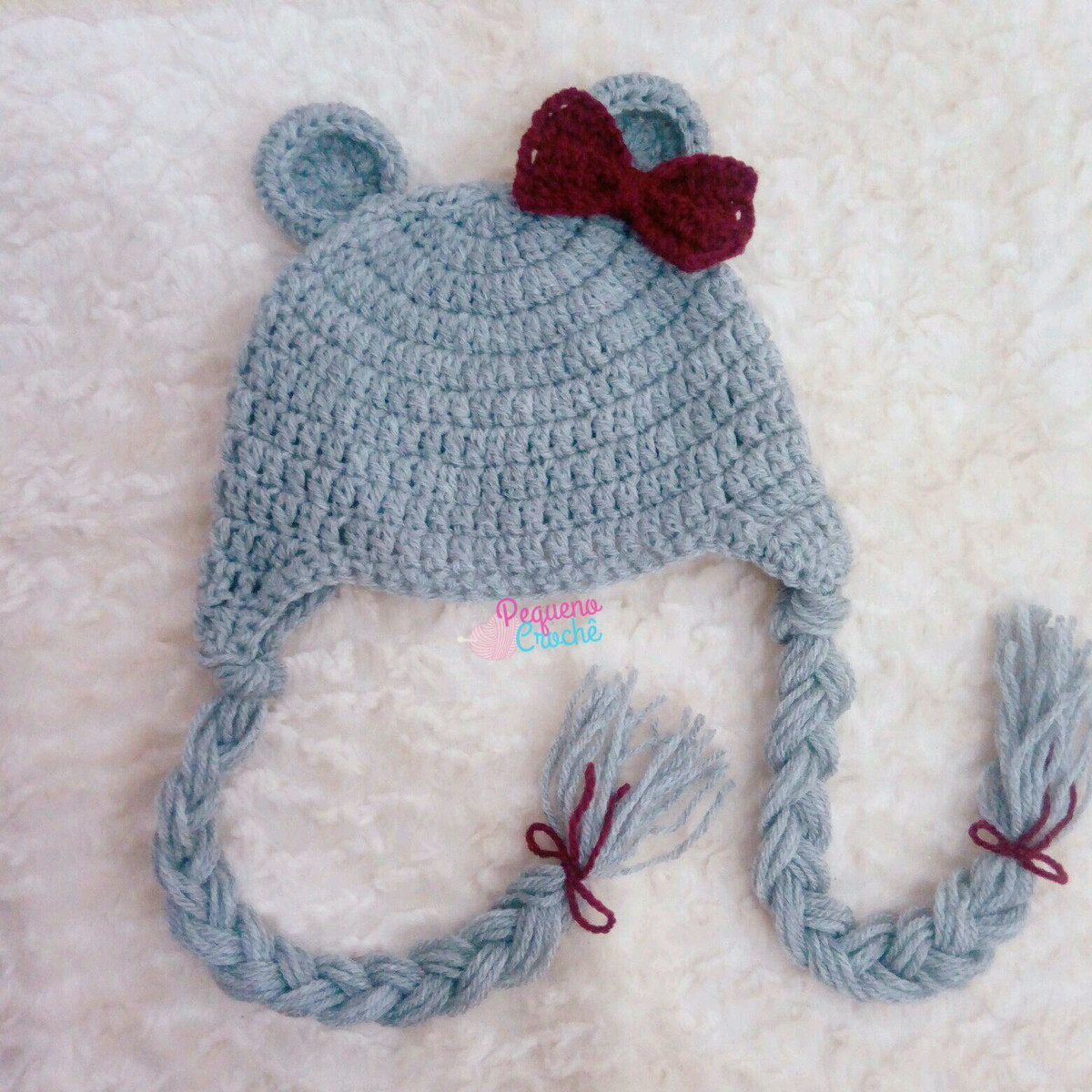 58c63b47a6aa1 Touca Croche Infantil Urso no Elo7