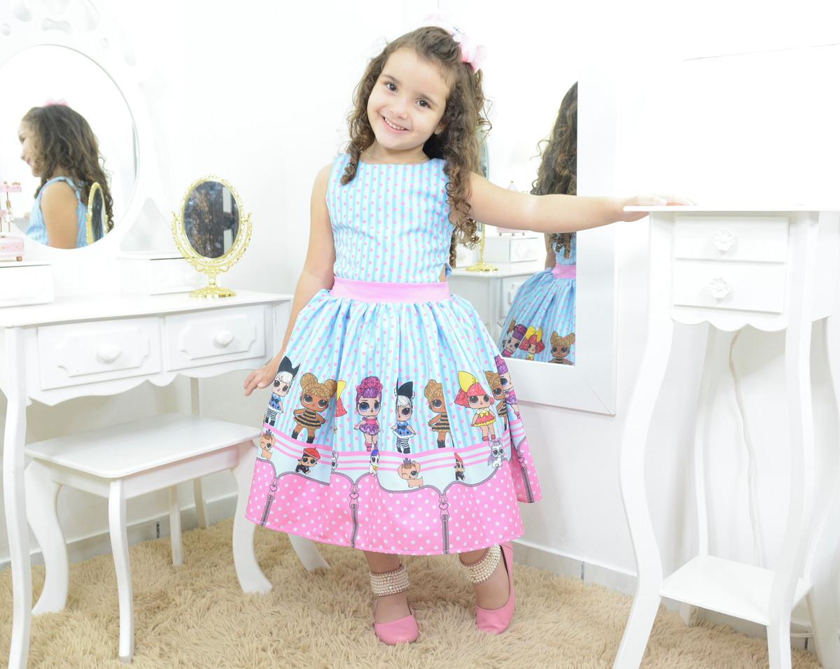26b858857c Vestido infantil mínis bonecas Lol surprise azul e rosa no Elo7 ...