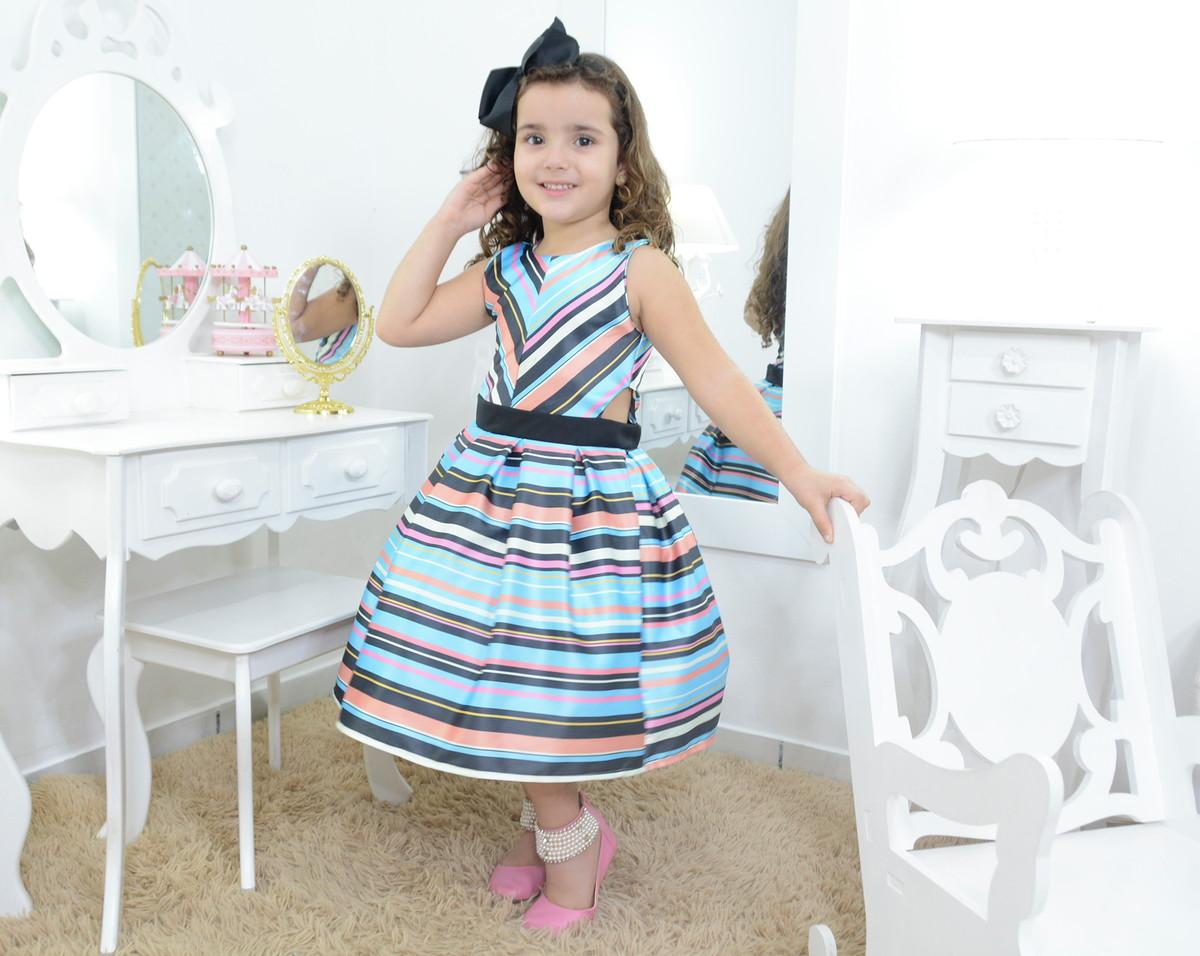 c0245cb8ad Vestido infantil azul listrado festa no Elo7
