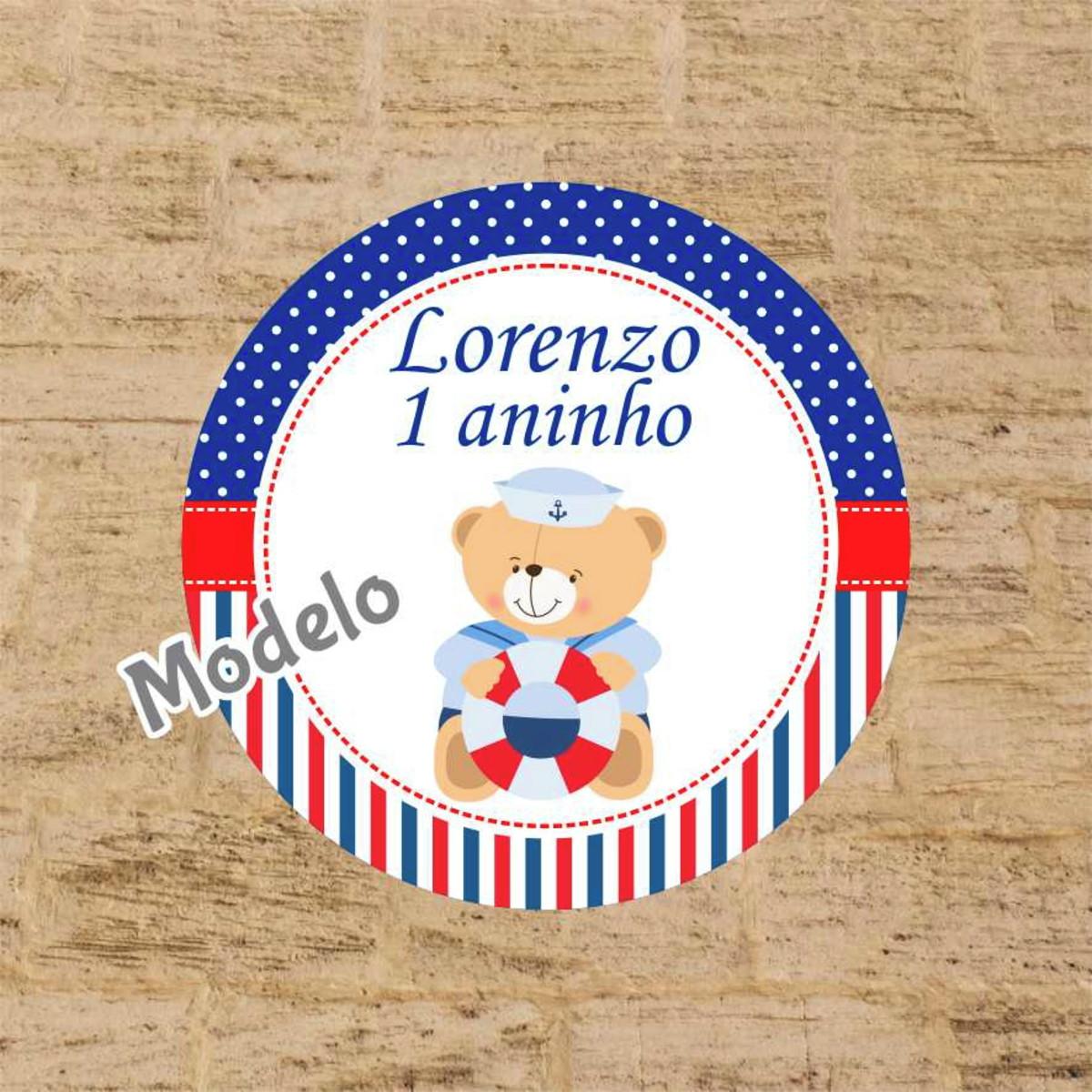 a912bf4e3dc89 Adesivo Latinha Ursinho Marinheiro no Elo7