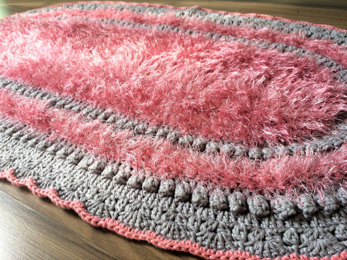 Tapete croche felpudo rosa e cinza no elo7 mf mistura for Rosa tapete