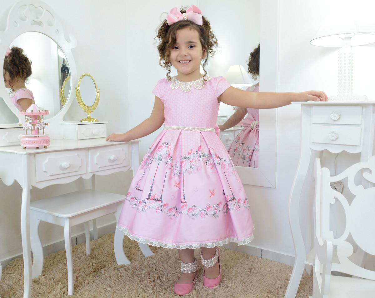 ad3e721a30 Vestido infantil luxuoso floral jardim encantado com bordado no Elo7 ...