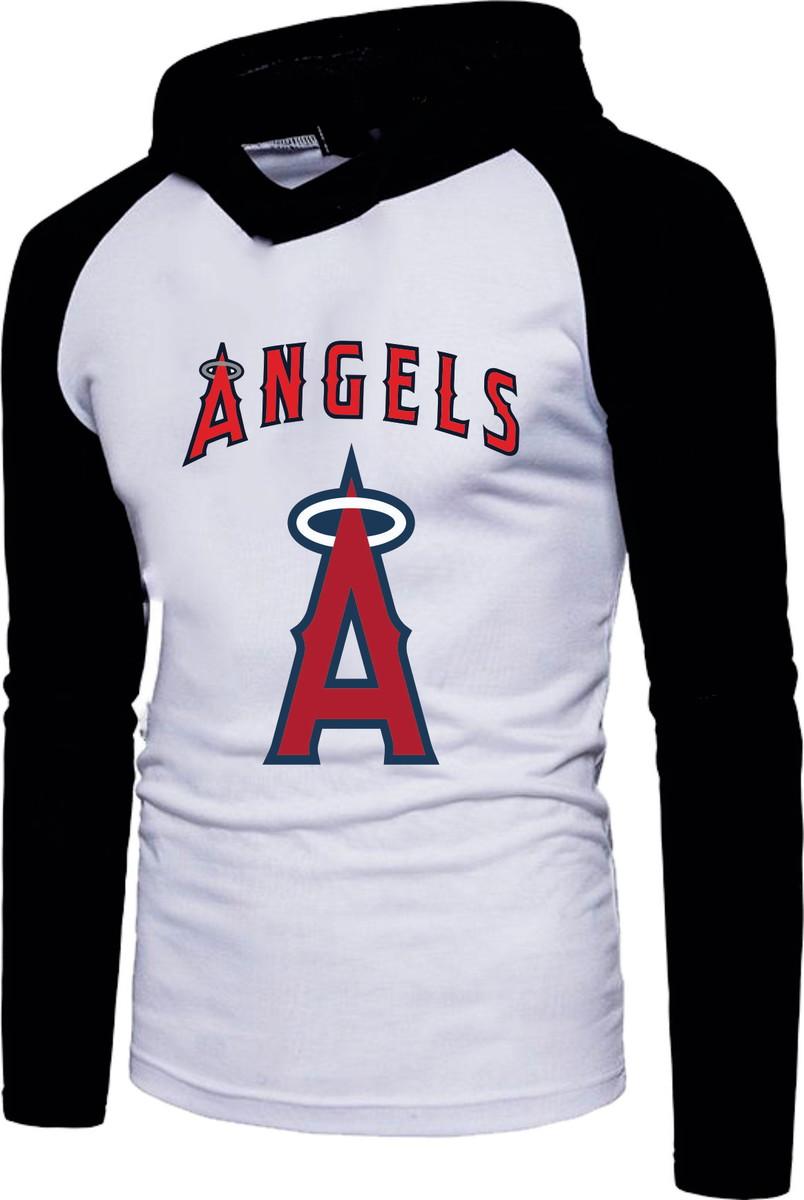 e67038ad6 Camiseta Raglan Manga Longa Com Capuz Los Angeles Angels Of no Elo7 ...