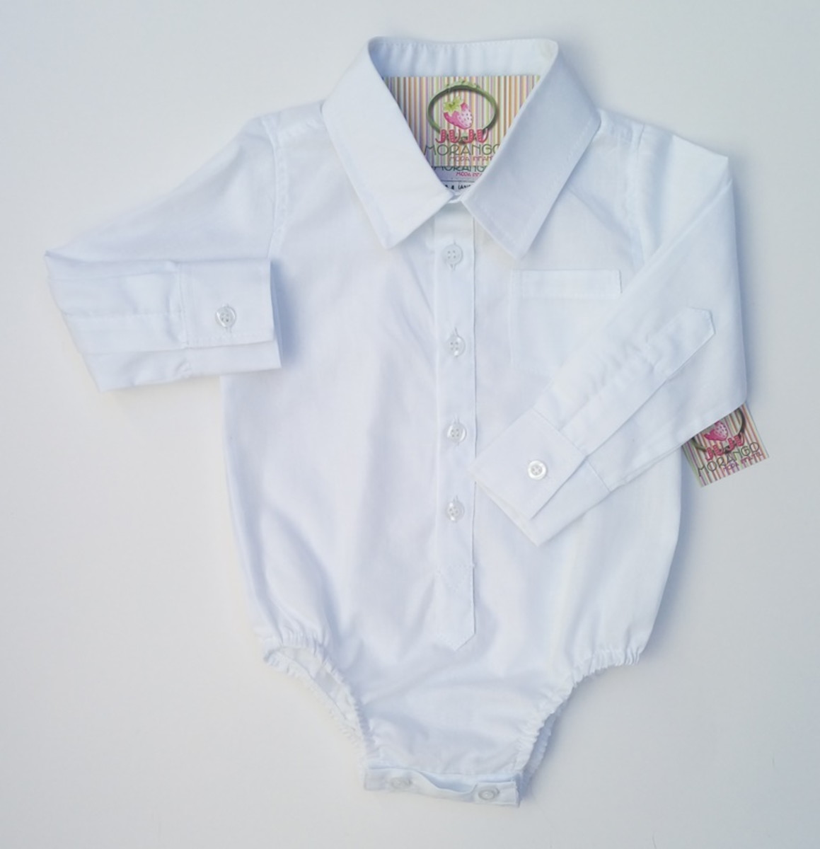 d22f4add9151c Body Camisa Branca Manga Longa no Elo7