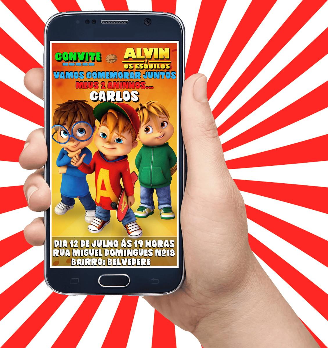 Convite Virtual Para Aniversario Alvin E Os Esquilos Desenho No