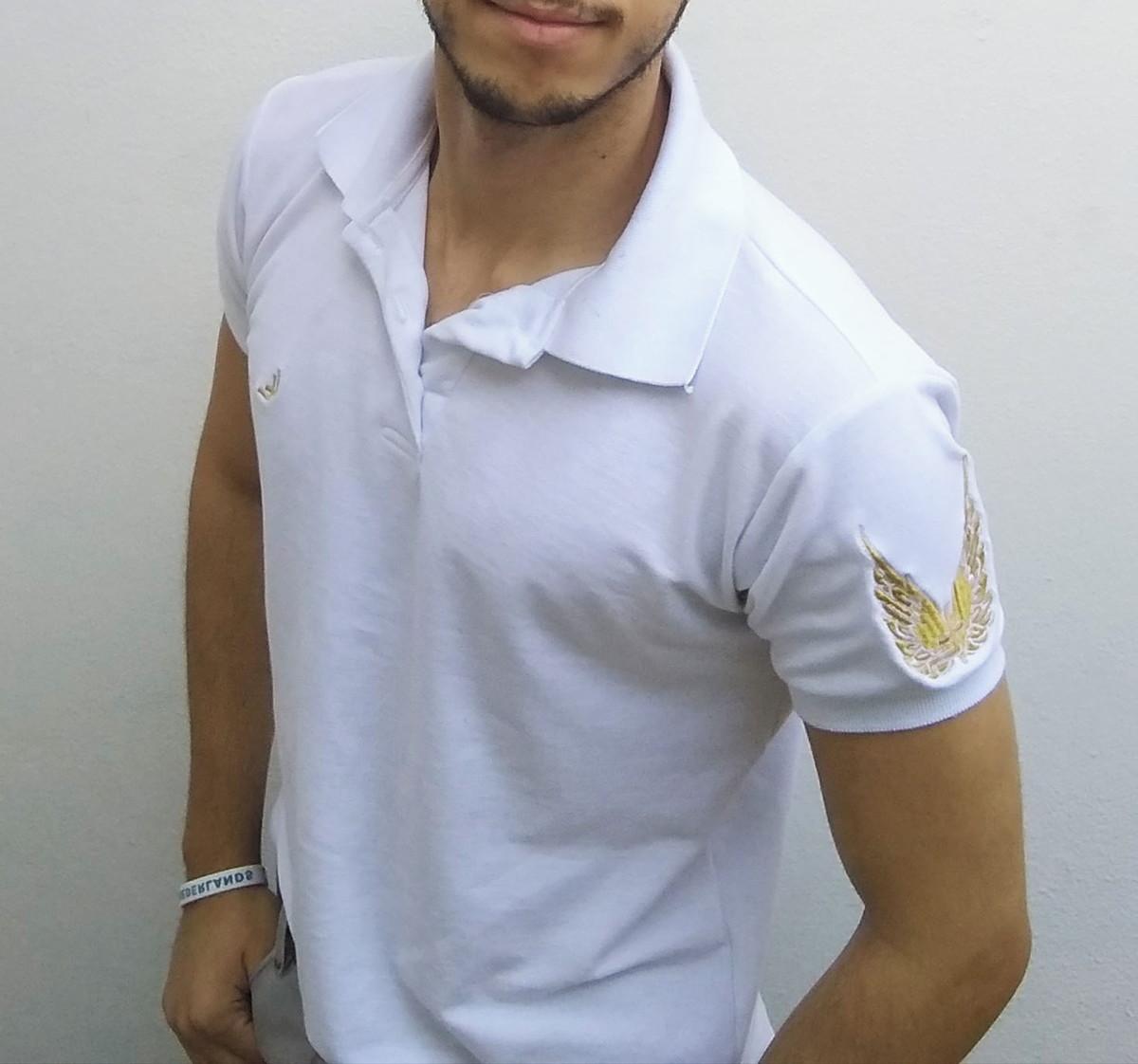 6623352eb7 Camisa polo masculina piquet Limitless branca + brinde no Elo7 ...