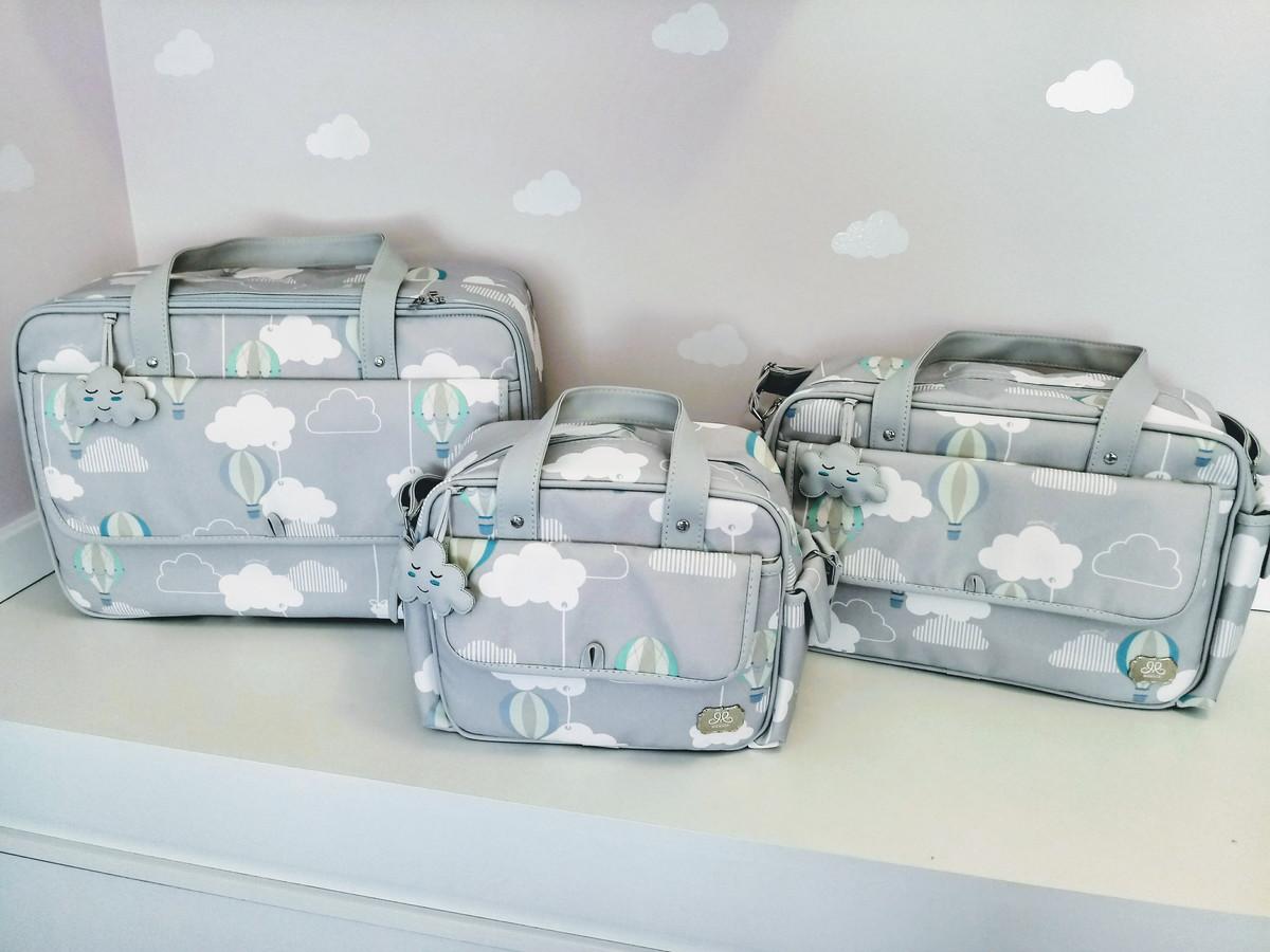 190b4eb4f9 Kit Bolsas Maternidade cinza nuvens clássica no Elo7