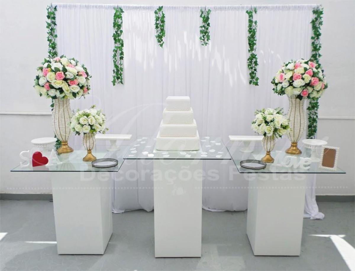 Aluguel Decoraç u00e3o Casamento Mesa do Bolo Vidro Rosa e Branco no Elo7 Adornar Decorações Para  -> Decoração De Mesa Do Bolo Para Casamento Simples