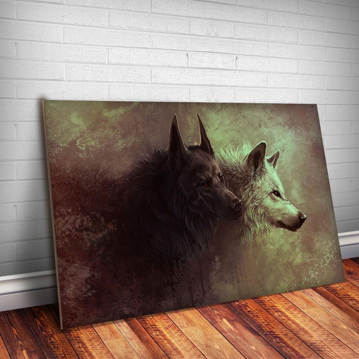 fd2ea97b1 Placa decorativa Animais 26 Lobo Branco e Preto-30x20cm no Elo7 ...