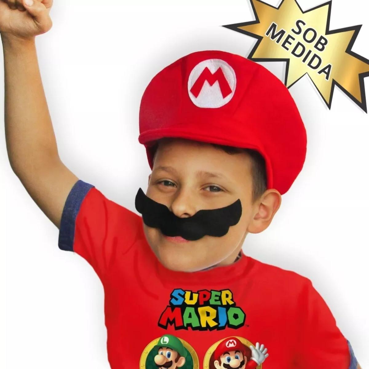Boina   Chapéu   Boné Super Mario Bros ou Luigi com bigode no Elo7 ... e83a9c7bd28
