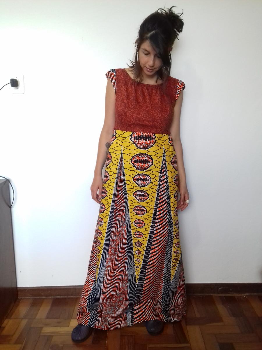 Vestido Longo Tecido Africano