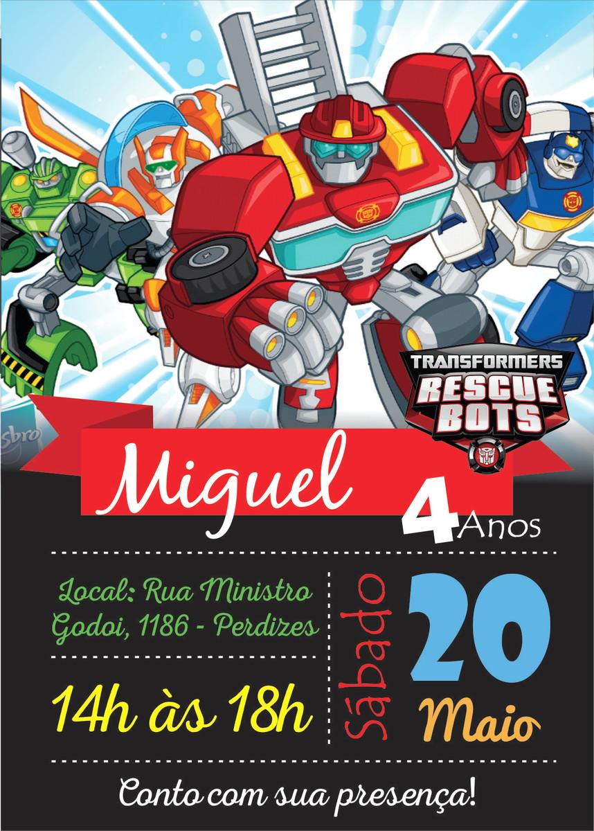 Convite Transformers Rescue Bots Digital No Elo7 Gráfica 7b C7dcaa