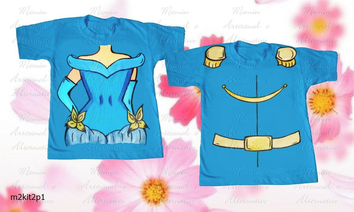 423f2d5694 kit 2 Camisetas Divertidas Cinderela e Príncipe no Elo7