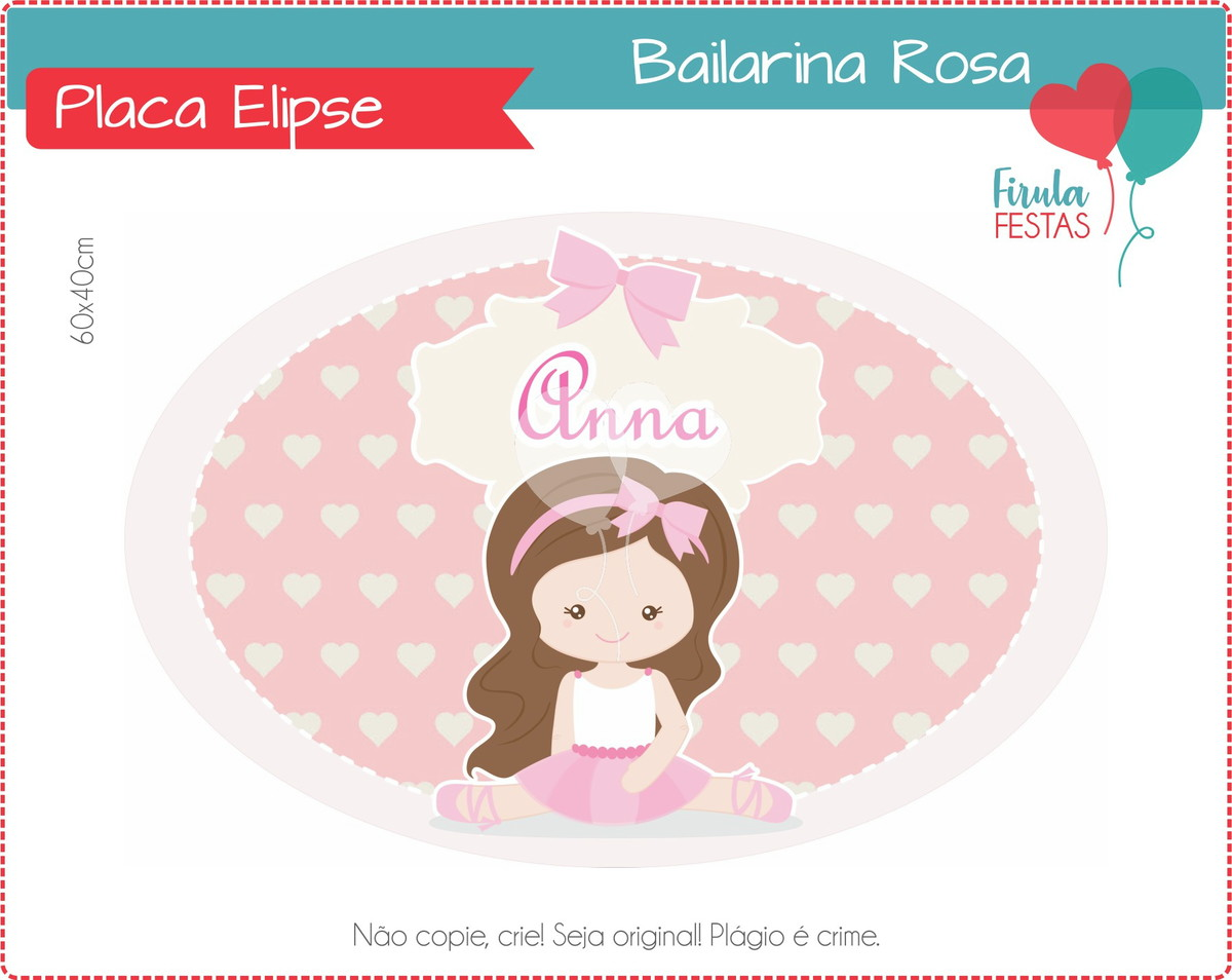 Placa Elipse Digital Bailarina Rosa no Elo7  4bdfee2dd1c9a