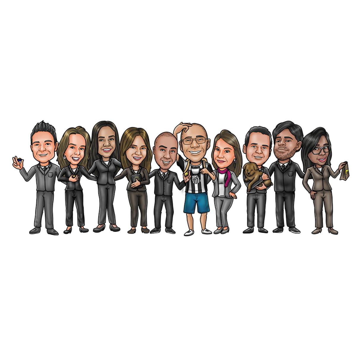 Caricatura De Grupos Amigos Família No Elo7 Estúdio Vassão