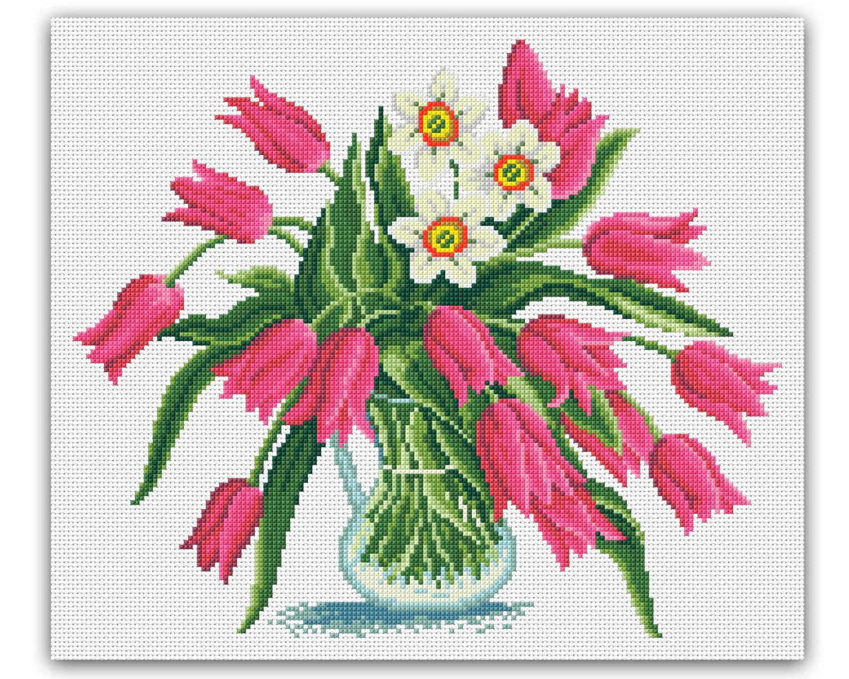 0489abd40 Flores em um vaso - Gráfico Ponto Cruz no Elo7 | Thimage - Gráficos ...