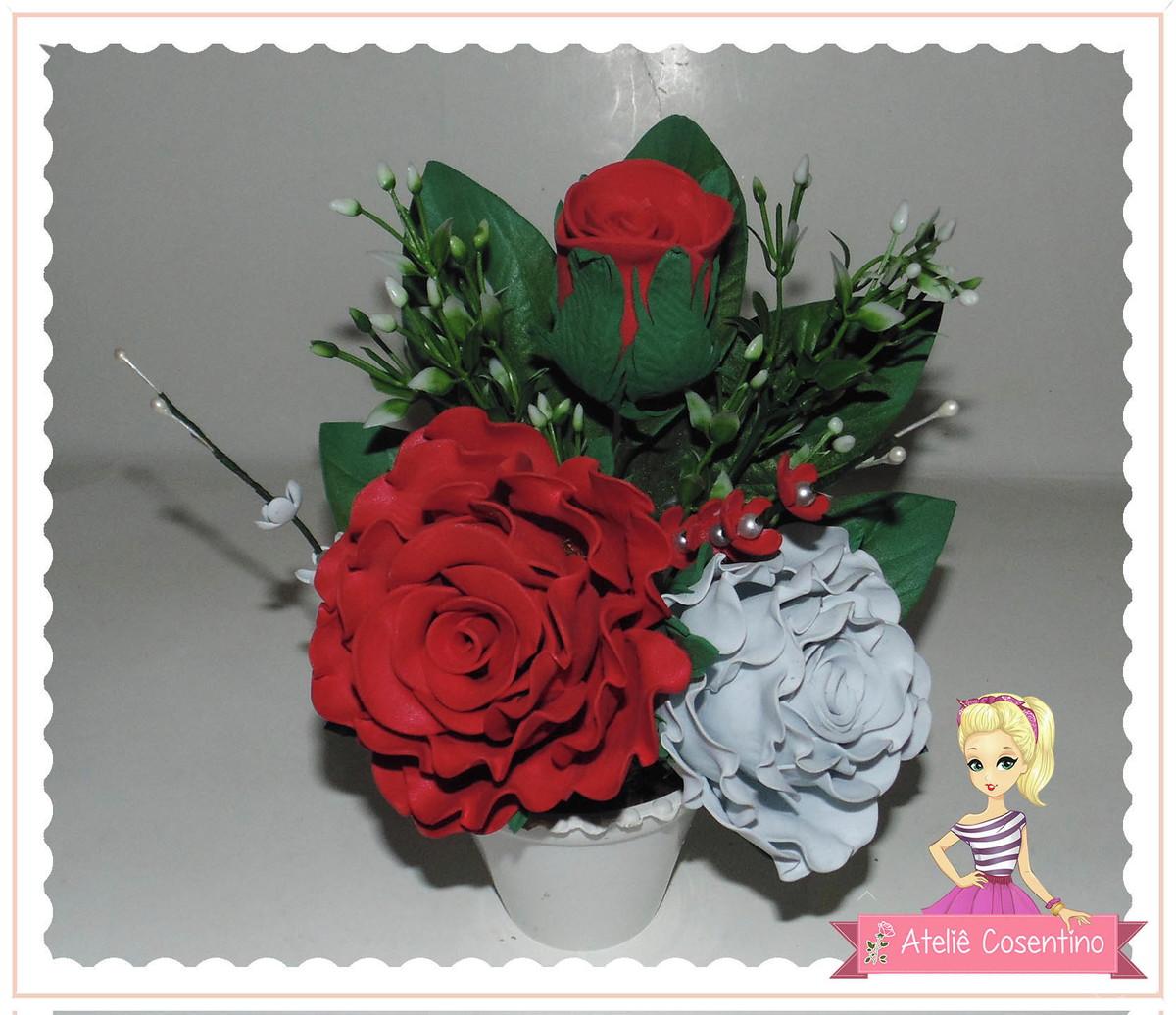 Arranjo Flores Em Eva Rosa Conjugada Repicada No Elo7 Atelie