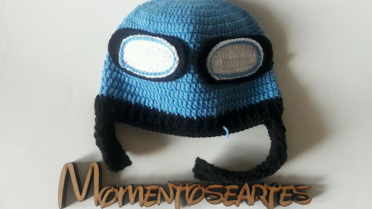 Touca aviador em Crochê azul no Elo7  c81094caa3d