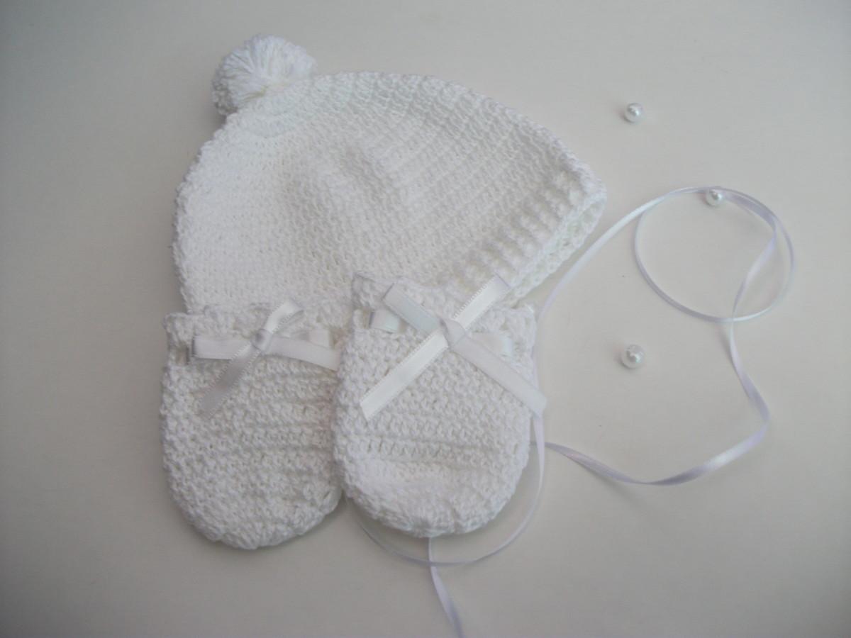 Conjunto botinha +par de luvas+touca bebê em linha  branco  no Elo7 ... 8598eeaa1ed