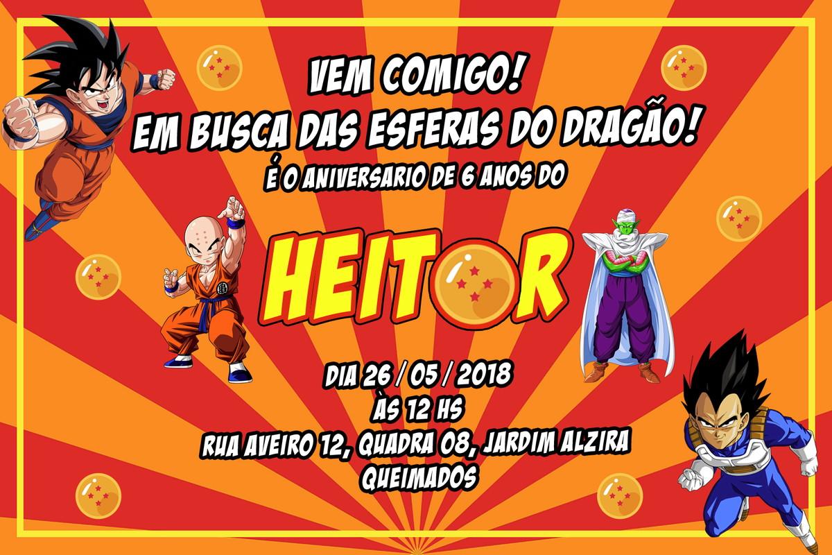 Convite Digital Dragon Ball Z No Elo7 Ke Encanto C89569