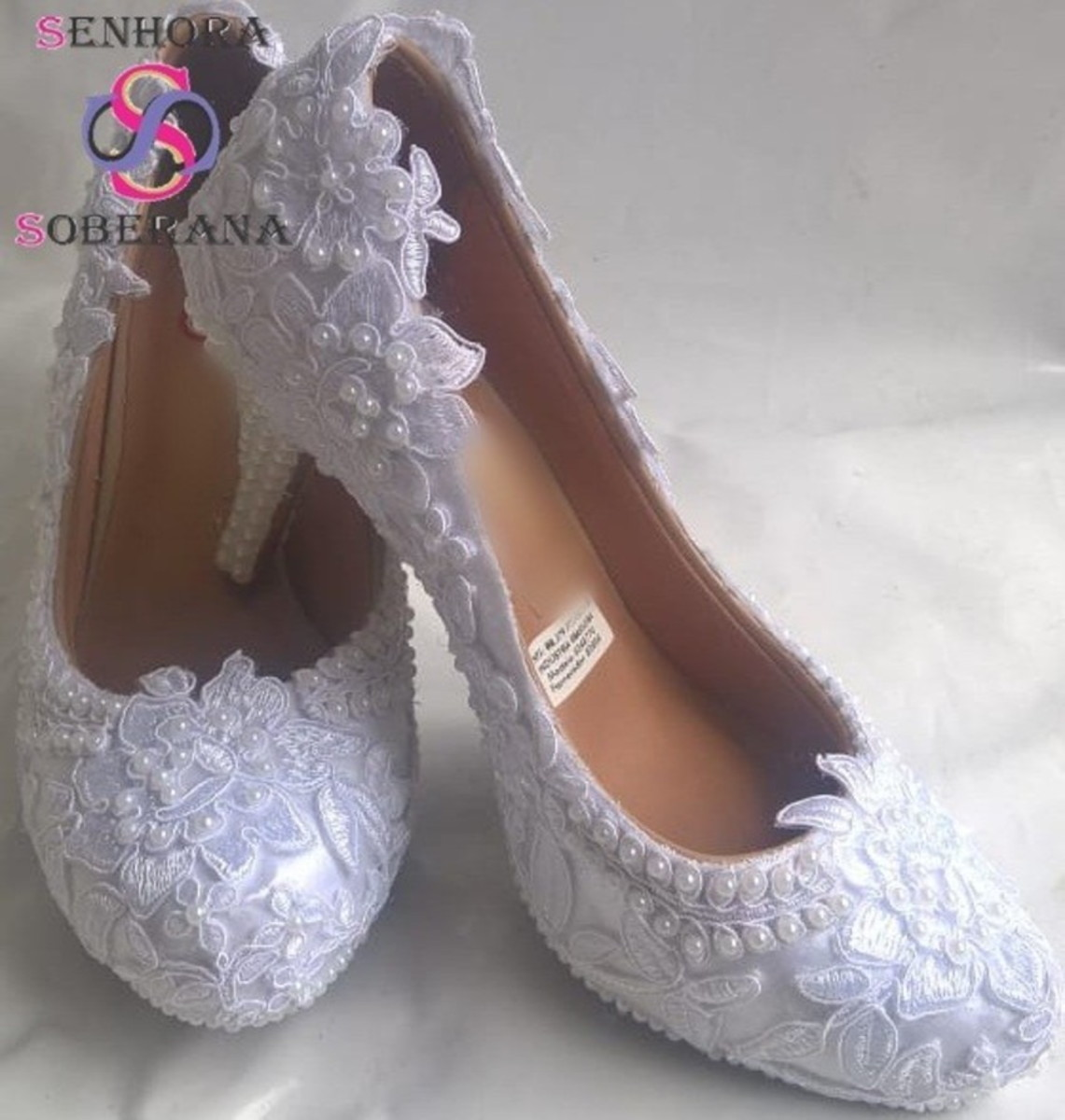 6a98ee5f79 Sapato Meia Pata Branco Rendado e perolado Cinderela (Evento no Elo7 ...