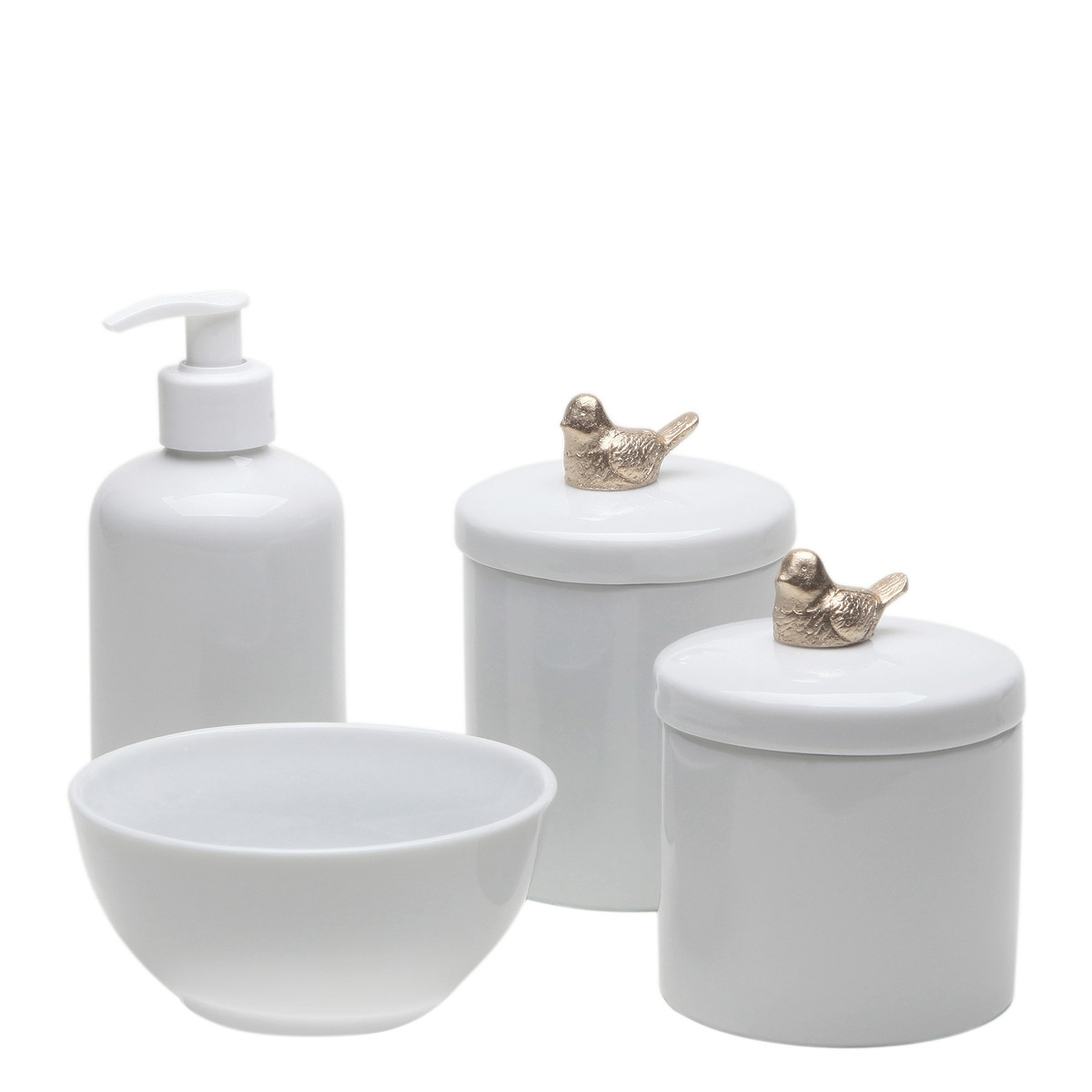 Kit Higiene Porcelana Bebe Pássaro Dourado Potes Passarinhos no Elo7 ... 4f8fd59f2b8