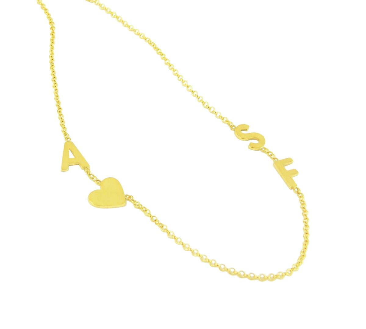a58496950d0e3 Choker Letras e Coração   Ouro 18k no Elo7   Atelier de Joias ...