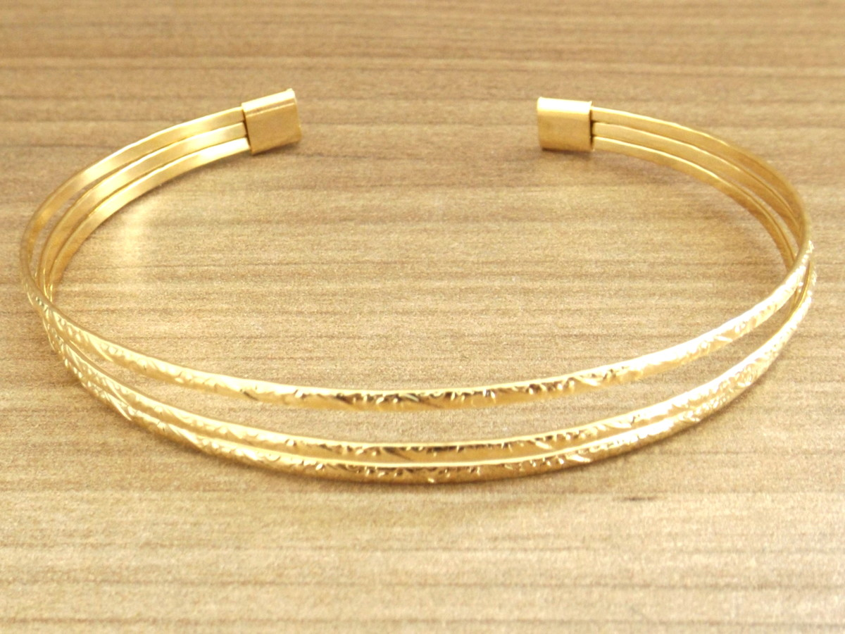 b9ff8befd5 Bracelete Pulseira Feminina 3 Fios Diamantados Folheado Ouro no Elo7 ...