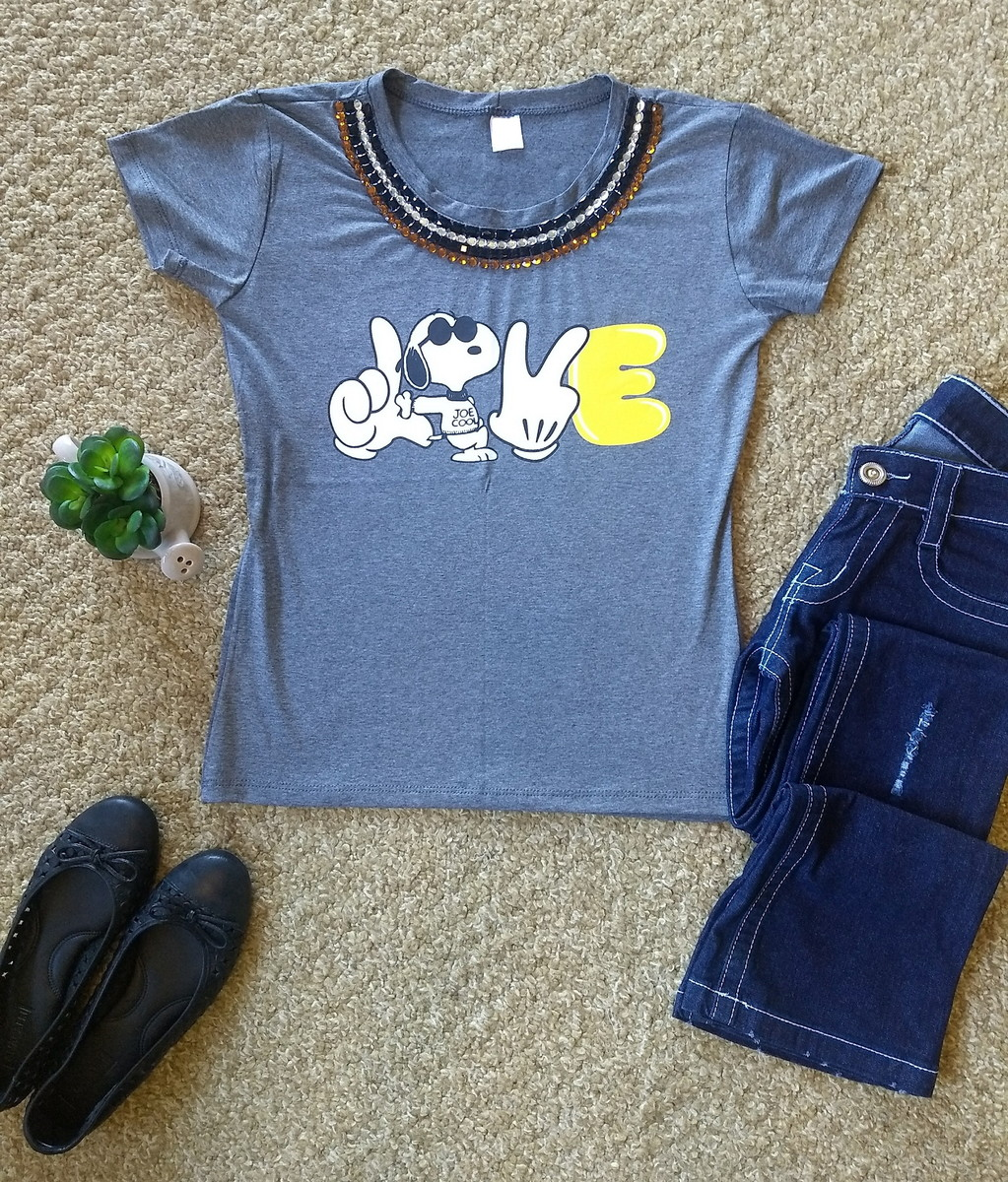 Camiseta bordada Love Snoopy no Elo7  f2c4103049ad3