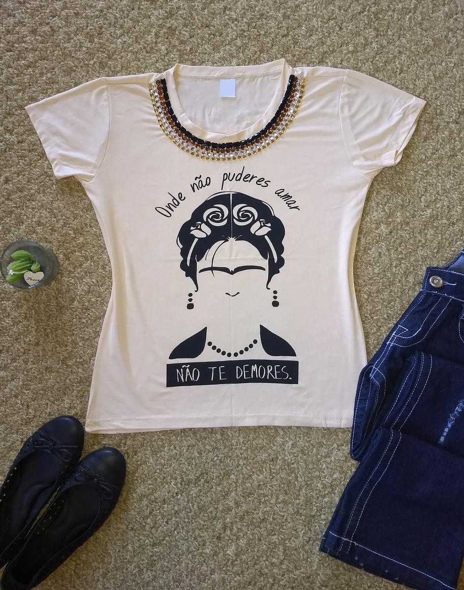 8a343738ac Camiseta bordada Onde não puderes amar (Frida) no Elo7