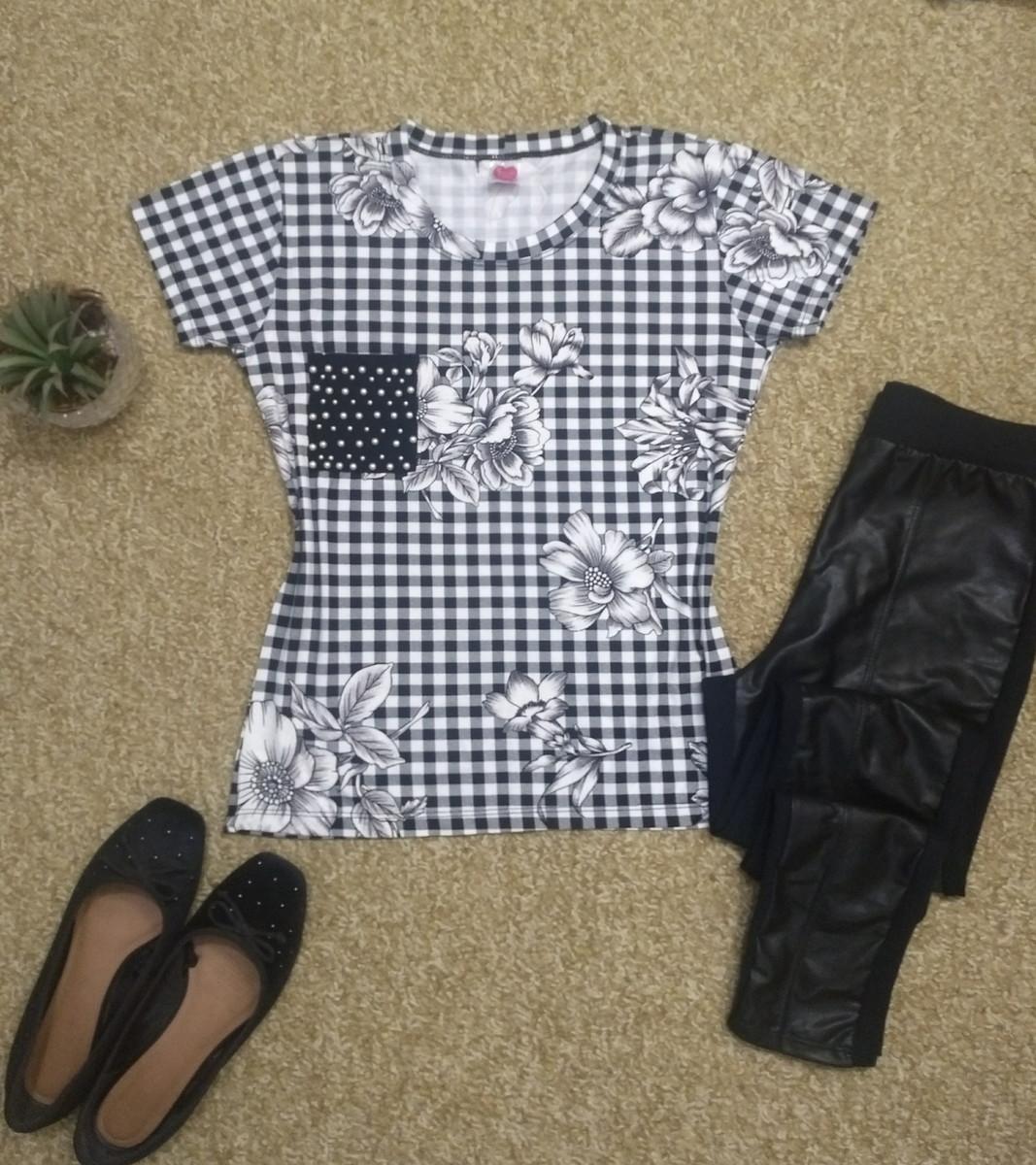 af050d6144 Camiseta bordada Xadrez com bolsinho de pérolas no Elo7