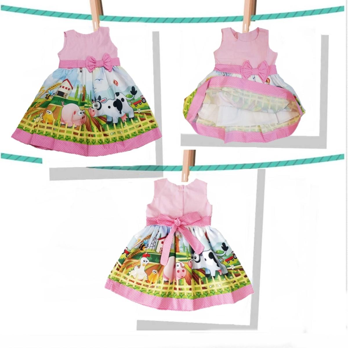 098e2dfb7e Vestido Fazendinha Rosa Infantil 100%algodão no Elo7
