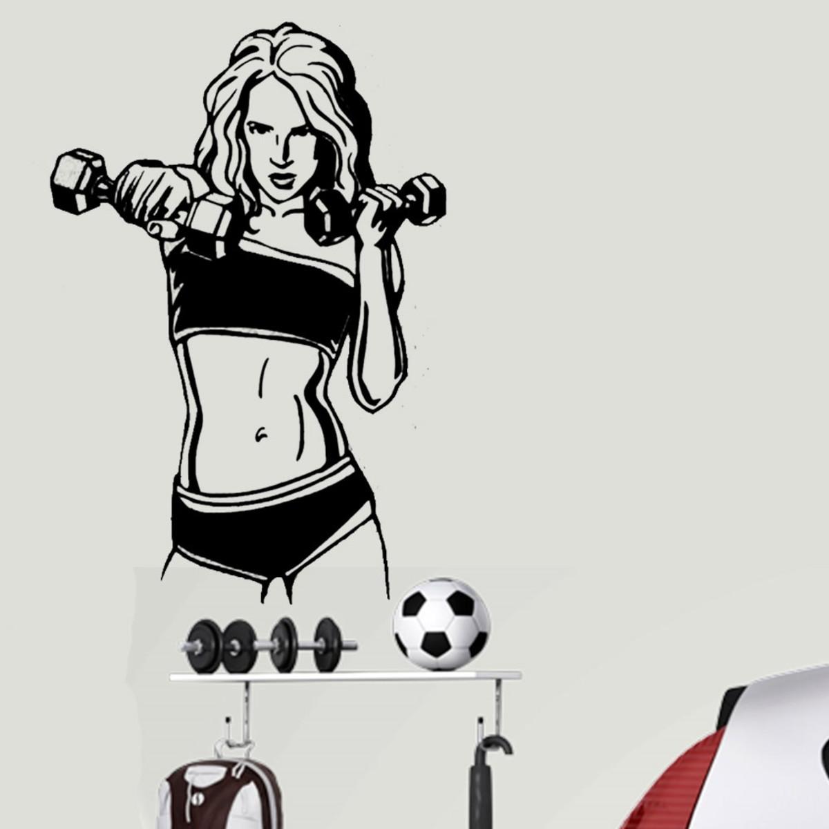 adesivo de parede mulher treinando com pesinhos es 98x144cm no elo7