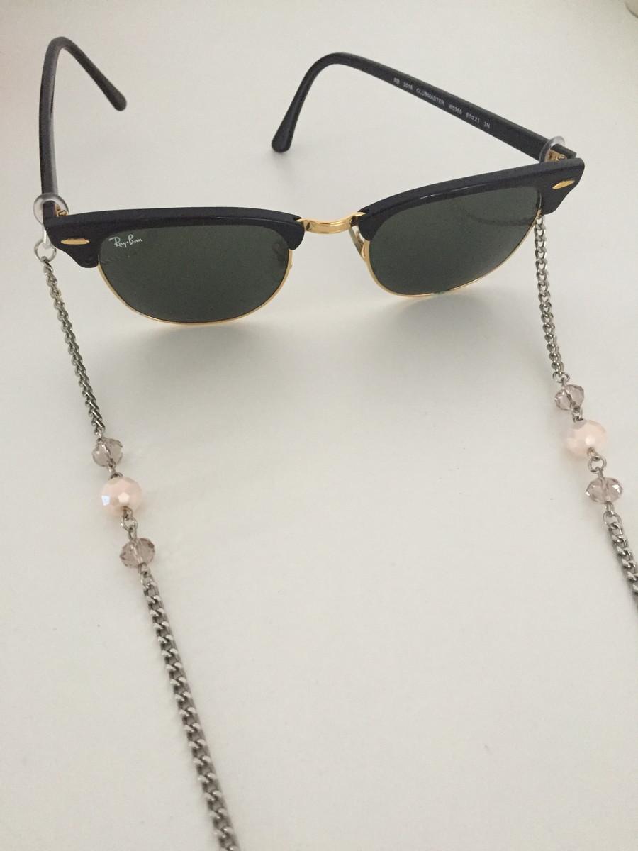 987576f9d7ce0 Cordinha para óculos prata com cristais no Elo7