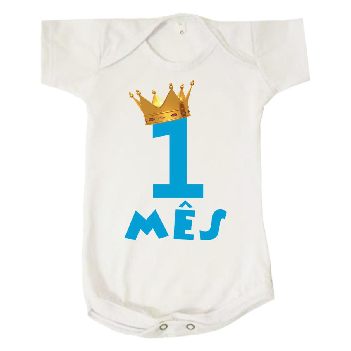 9f14fc95e Body Bebê Infantil Mesversario Primeiro Mês Azul no Elo7 | Loja ...