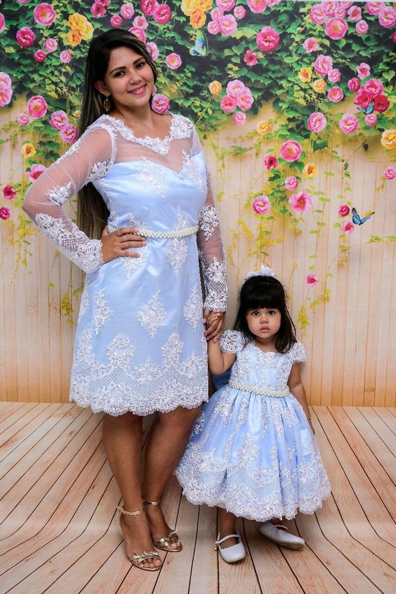 2cab11d9d Vestidos mãe e filha luxo Princesa azul e branco. no Elo7 | Jasmim ...