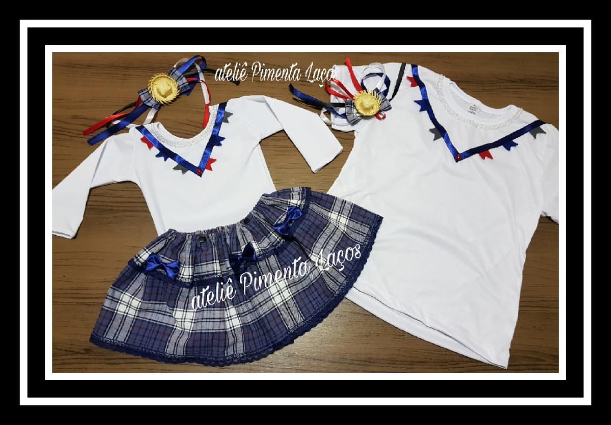 980c8dc7ab Conjunto Infantil Caipira e Camiseta Festa Junina no Elo7