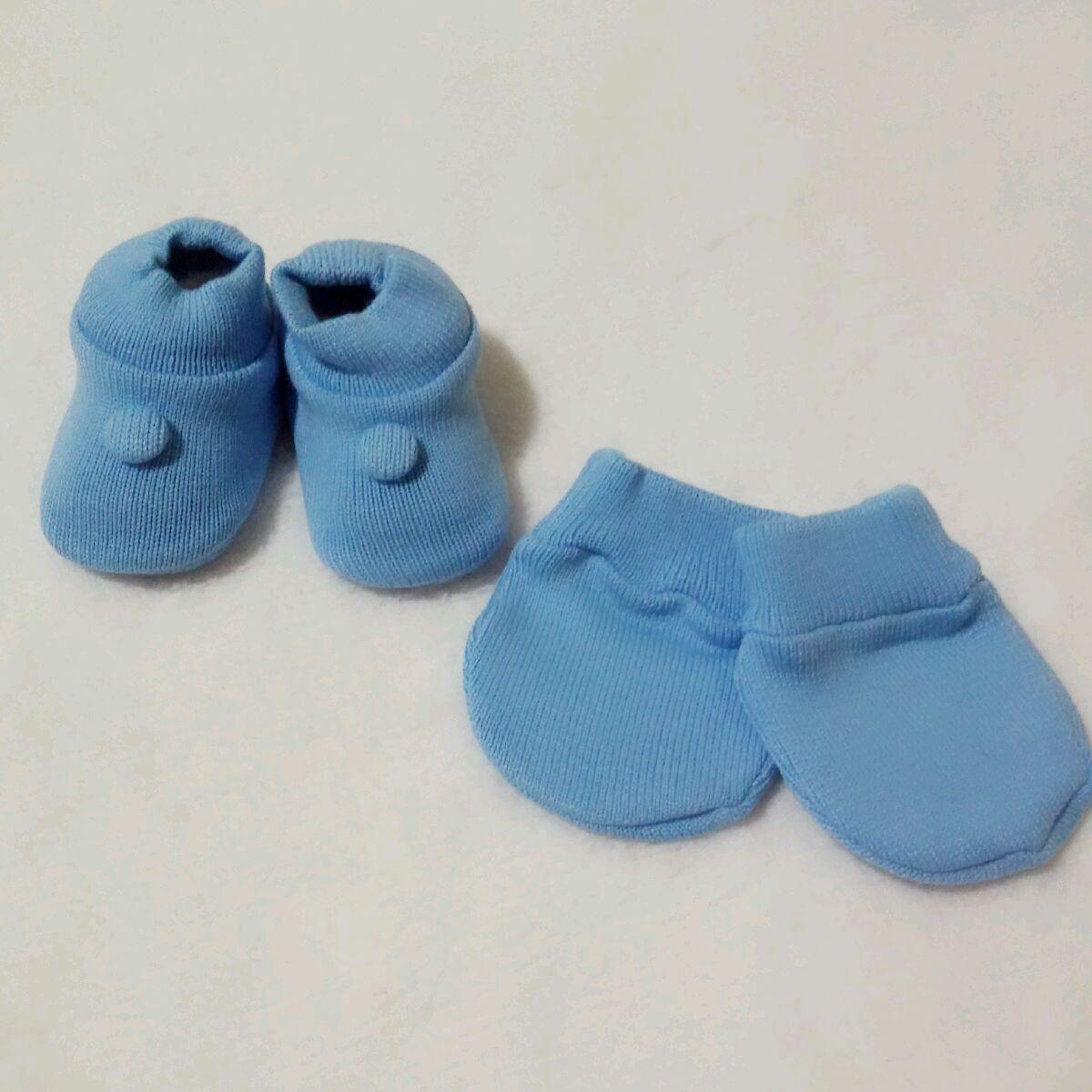 Kit Sapatinho e Luva Tricot - Azul no Elo7  1cdb761ea30