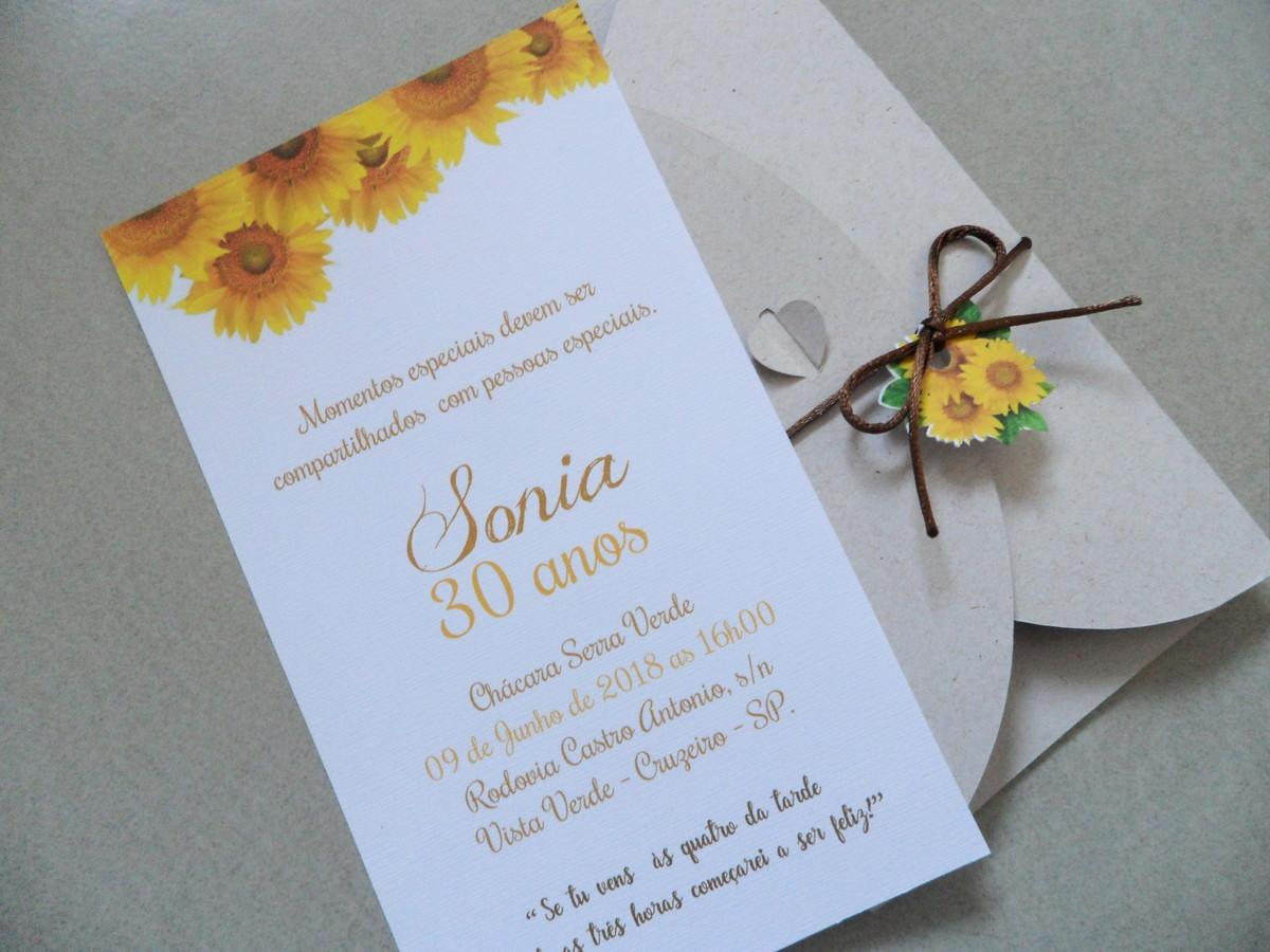 Convite 30 anos Girassol no Elo7 Cor e Arte Convites (C94D9B) -> Decoração De Girassol Para Aniversario