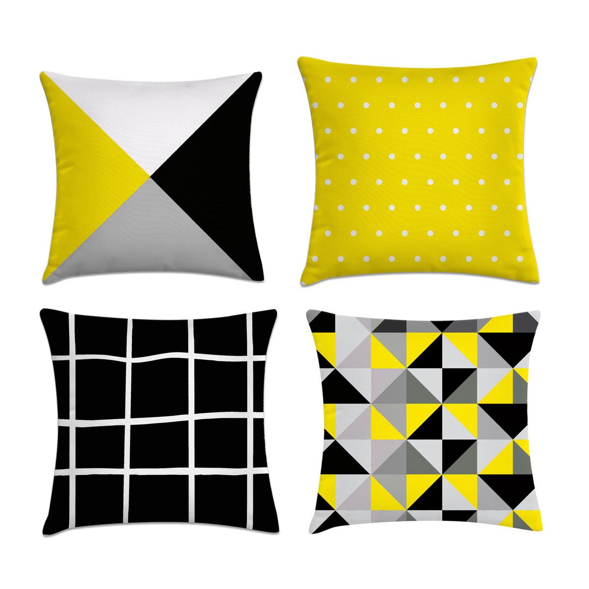 44877c316f03a0 Kit 4 capas de almofadas cinza amarelo e preto