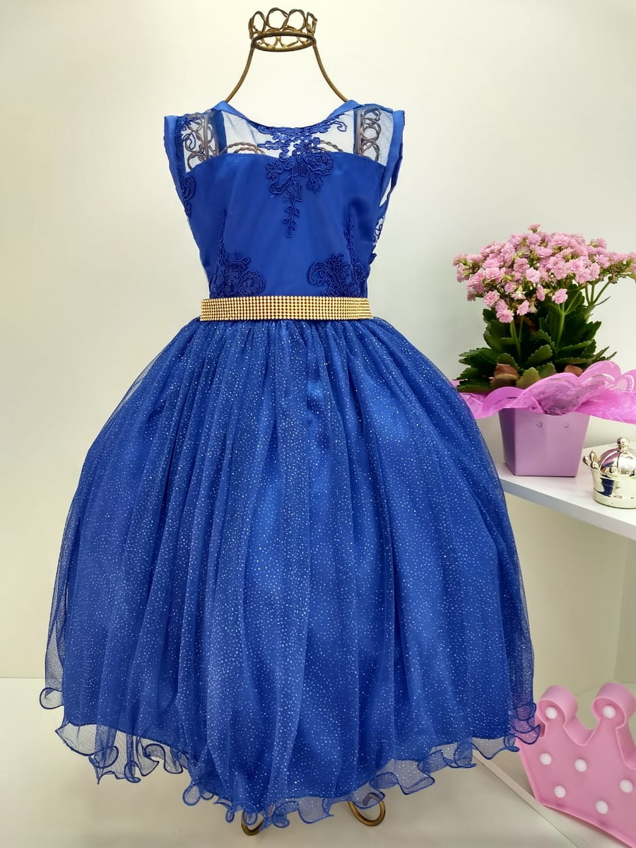 Vestido de formatura azul royal com manga