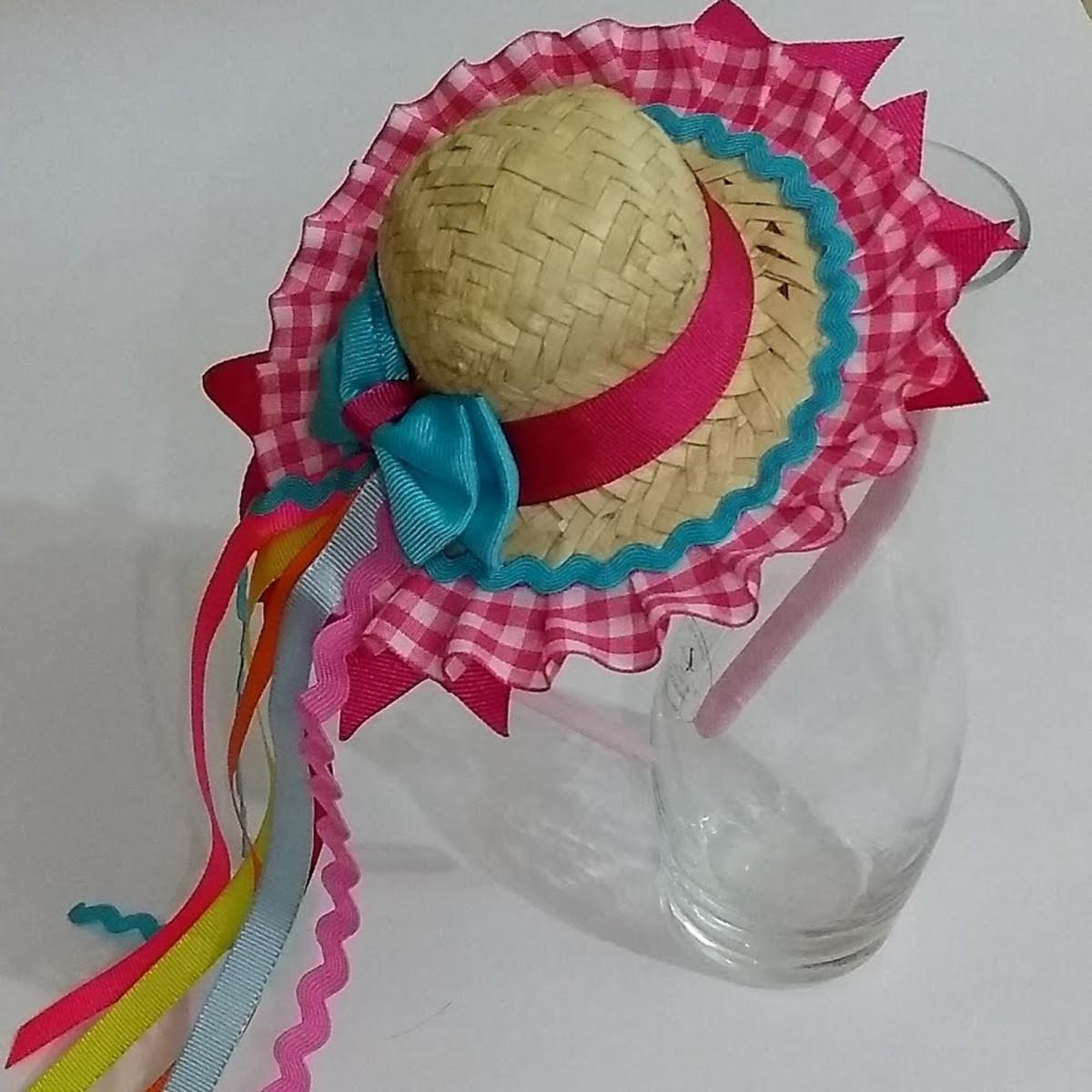 Tiara Chapéu de palha no Elo7  11bc2f28d92