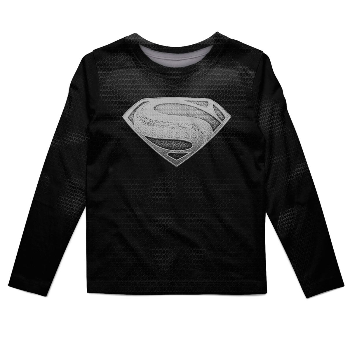f280b84301 Camiseta Manga Longa infantil Superman Black no Elo7